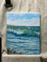 "Art sale 11""/14""California, oil painting, seascape, landscape,ocean,wall art"