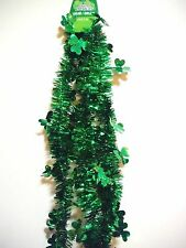 ST PATRICKS DAY GARLAND 9FT GREEN WITH GREEN CLOVERS