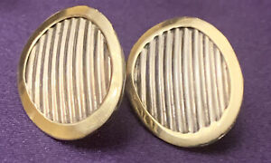 "14K YG & Sterling Silver Designer Textured Oval Pierced  Earring 1"""