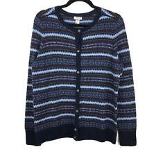 LL Bean Womens Petite Blue Fair Isle Cotton Cashmere Cardigan Sweater Medium PM