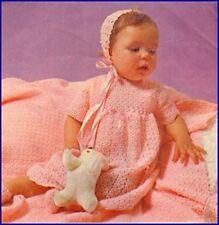 Baby Crochet Pattern  LAYETTE Copy Shawl Dress Jacket Bonnet