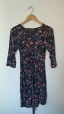 WAREHOUSE NAVY DITSY FLORAL FLOATY BODYCON DRESS SIZE 10