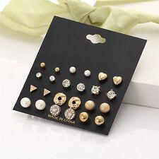 12Pairs Fashion Pearl Crystal Heart Stud Triangle Earring Set Women Girl Jewelry