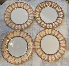 "Antique Royal Doulton China Plates Pink & Raised Gold 10 1/2"""