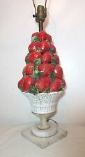 antique hand made Italian Majolica strawberry fruit basket electric table lamp
