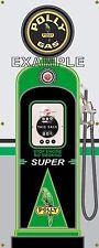 ANTIQUE POLLY GAS PUMP GAS STATION PUMP STYLE BANNER GARAGE SIGN LARGE ART 2 X 5
