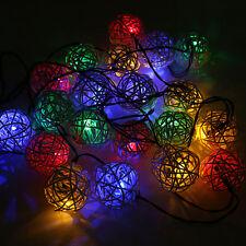 Solar Power 20 Led 5m White Rattan Wicker Ball Outdoor Garden Xmas Party Light