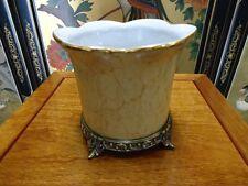 Oriental Crackled Porcelain Planter Pot, Orchird Pot,  Antiqued Brass