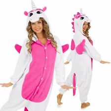 Kigurumi-Pijama-Unisex-Ropa-de-noche-vestido-de-Cosplay-Animal-Rosa-Unicornio