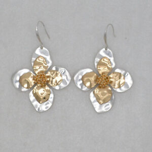 RLM SOHO jewelry two tone matte gold silver plated huge earrings flower shapes