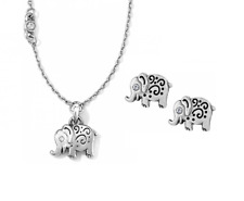 NWT Brighton Micro Minis LUCKY WISH ELLI Elephant Necklace Earrings Set MSRP $68
