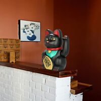 Chinese Lucky Waving Black Cat Swinging Arm Fortune Feng Shui 8'' Money Figure