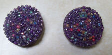 2  BEADED ANTIQUE PASSEMENTARIE PURPLE FABRIC BUTTONS