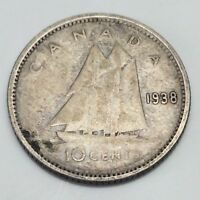 1938 Canada 10 Ten Cents Dime Canadian Circulated Coin D932