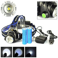 20000LM ZOOMable XML T6 LED 18650 Headlamp Light Torch+AC&Car Charger+2x Battery