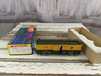 BTR 417 yellow green express train car boxcar postwar freight toy HO