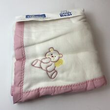 NEW Vintage Gerber Pink Embroidered Teddy Bear Acrylic Trim Baby Crib Blanket