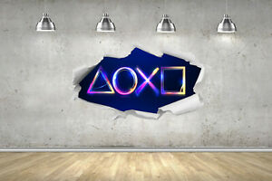 PS 4 5 Glow Neon Buttons 3D RIP Hole Wall Stickers Fort Gamer Nite Gaming Decals