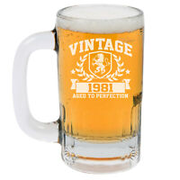 12oz Beer Mug Stein Glass Vintage Aged To Perfection 1981 40th Birthday