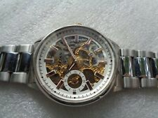 RARE TITAN INDIA SKELETON BIG FACE SS MECHANICAL HAND WINDING MEN'S WRISTWATCH