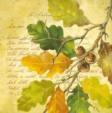 S258# 3 x Single SMALL Paper Napkins Decoupage Autumn Oak Leaves Script Collage