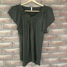 Women's Full Tilt Top/Shirt Solid Army Green Short Sleeve Size Large