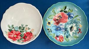 Pioneer Woman Two Pasta Bowls Melody & Hyacinth Yellow EUC