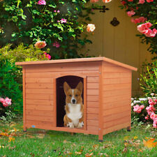 """41"""" Wood Waterproof Slant-Roofed Large Dog House Pet Cage Kennel Cabin Outdoor"""