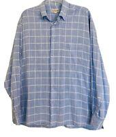 Pronto Uomo Mens Blue White Checkered Button Down Shirt Size XL 100% Cotton VTG