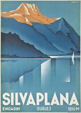VINTAGE SKI posters Silvaplana, Suisse, 1934, Art Déco Voyage Imprimé