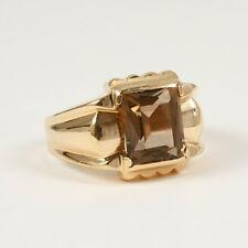Klassischer Ring mit Rauchquarz, 585 Gelbgold, Gewicht 5,9 Gramm