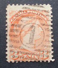 """1870-97 3¢ Vermillion Small Queen Victoria SC #37/41 Cancel """"1"""""""