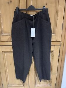 Toast Alix Trousers, Wool Cotton Mix, Brown Check, Size 14, current toast,  BNWT