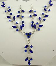 SILVER TONE ROYAL BLUE CRYSTAL DROP NECKLACE & EARRINGS SET