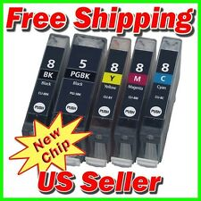 5 Ink Pack w/ CHIP for Canon PGI-5BK CLI-8 Pixma iP4200 iP4500 MP800 MP810 MP960