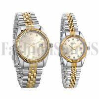Men's Women Rhinestone Date Waterproof Luxury Stainless Steel Sports Wrist Watch