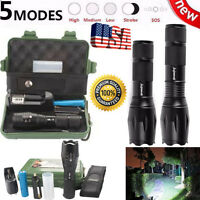 Zoomable 5000LM 5Modes CREE XML T6 LED Flashlight Torch Lamp+18650+Charger+Case