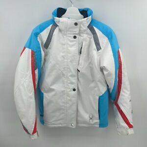 Spyder Kids XTL 10,000 mm Thinsulate Ski Jacket White Hooded, Size 18, EUC