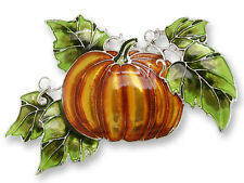 Zarah Zarlite Magic PUMPKIN PIN Sterling Silver Plated Enamel Halloween Fall Box