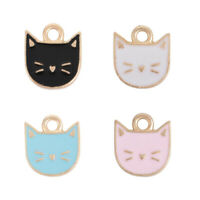 10Pcs Cat Animal Head Charms Pendants DIY Crafts Necklace Jewelry Making Decor