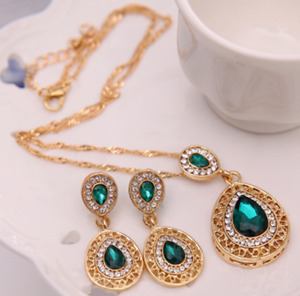 Gold Filled Emerald CZ Gem Teardrop Hollow Earrings Pendant Necklace Set UK Sell