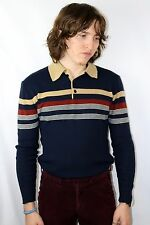 Vintage 70s Collared long sleeve shirt - 1970 80s Striped Skate Surf rare