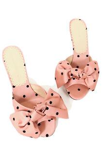 Charlotte Olympia Pink Satin Polka Dot Bow Kitten Heel Sandals 39 US 9 $585 ABFB