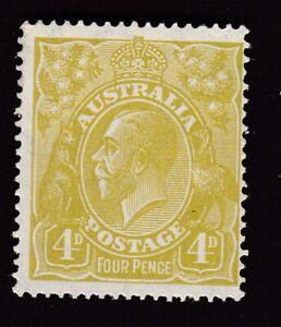 Australia 1924 KGV Head 4d yellow olive wmk mult. crownA pf14 SG91 average MINT