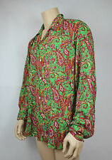 Mens Vtg 70s Style Disco Crazy Print Prince Paisley Festival Summer Shirt L-XL