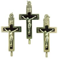 Black Cross with Silver Tone Corpus Reliquary Crucifix Pendant, Lot of 3, 2 Inch
