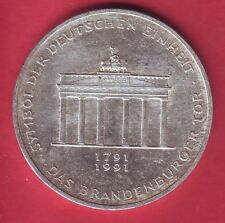R* GERMANY GFR 10 MARK SILVER 1991 A BRANDENBURGER TOR aUNC DETAILS #A12
