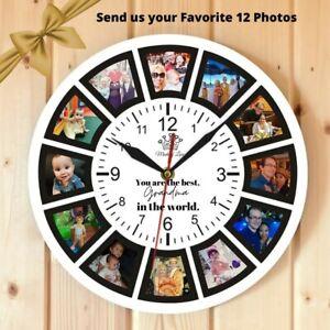 Grand mother Gift Custom Wall Clock with 12 Photo Stand Clock Home Decor Grandma