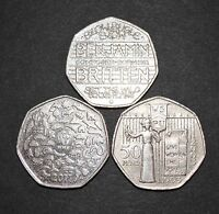 3 x Rare and collectable 50p Coins WWF-Benjamin- Suffragettes (fifty pence)