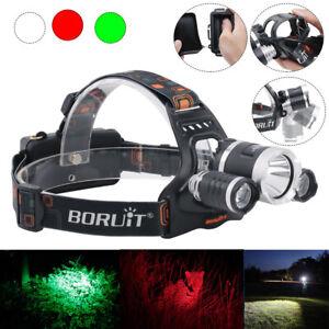 BORUiT 3000 Lumen Headlamp 1X L2 2X R2 LED Headlight 18650 Battery Light Charger